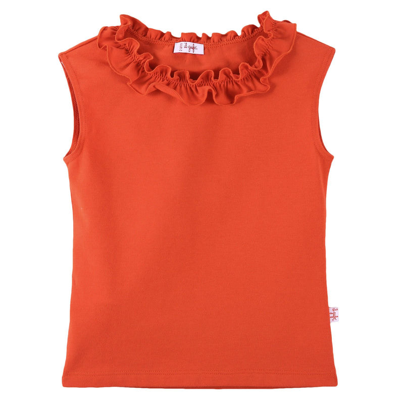 Girls Red Cotton T-Shirt With Lace Collar - CÉMAROSE | Children's Fashion Store - 1