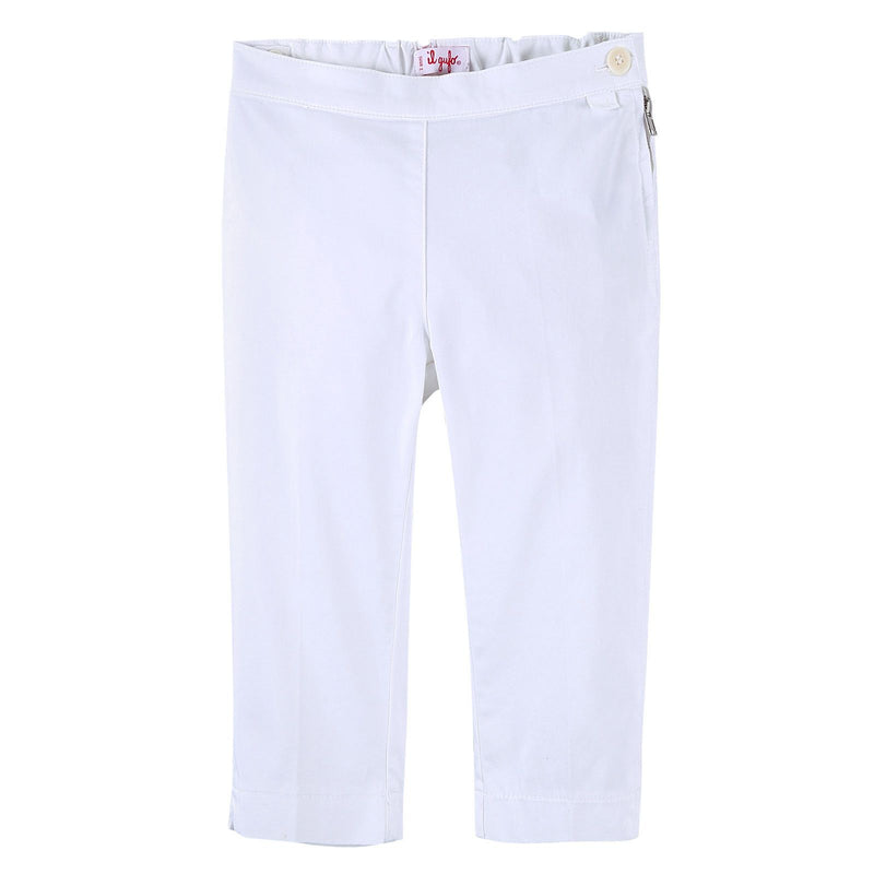 Girls White Cotton Jersey Trousers With Zip-Up Pockets - CÉMAROSE | Children's Fashion Store - 1