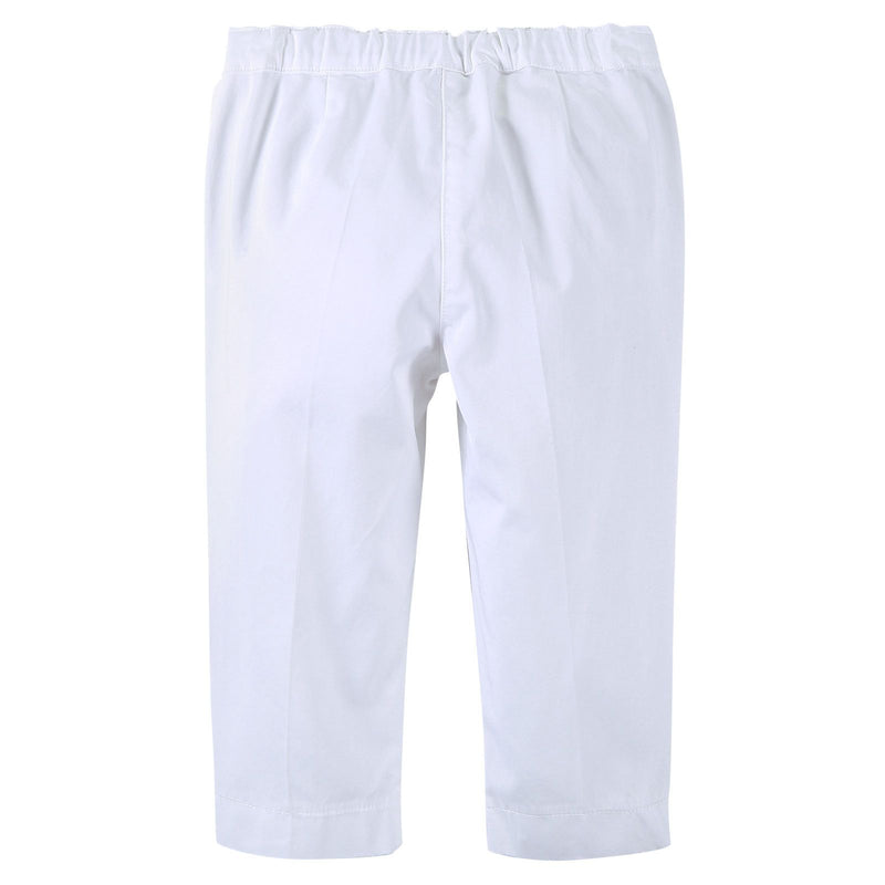 Girls White Cotton Jersey Trousers With Zip-Up Pockets - CÉMAROSE | Children's Fashion Store - 2