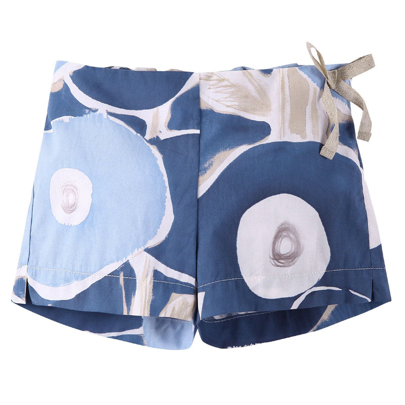 Girls Blue Printed Cotton Shorts With Bow Trims - CÉMAROSE | Children's Fashion Store - 1