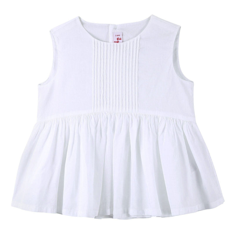 Girls White Sleeveless Cotton Blouse With Skirt - CÉMAROSE | Children's Fashion Store - 1