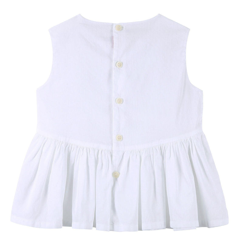 Girls White Sleeveless Cotton Blouse With Skirt - CÉMAROSE | Children's Fashion Store - 2