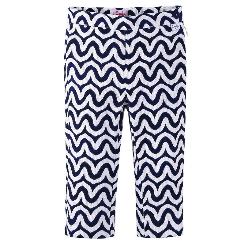 Girls Navy Blue&White Ripple Printed Trousers - CÉMAROSE | Children's Fashion Store - 1