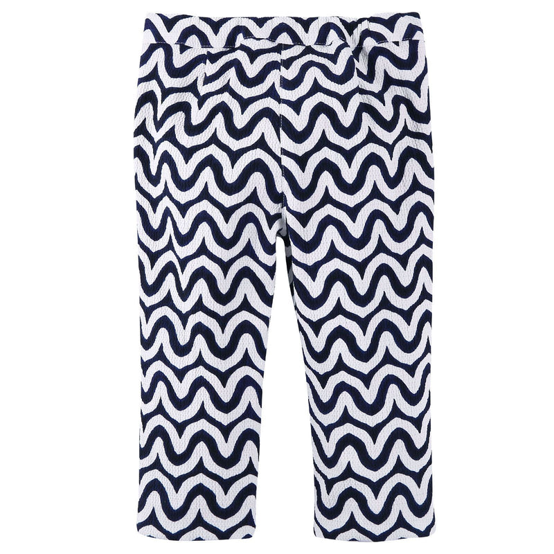 Girls Navy Blue&White Ripple Printed Trousers - CÉMAROSE | Children's Fashion Store - 2