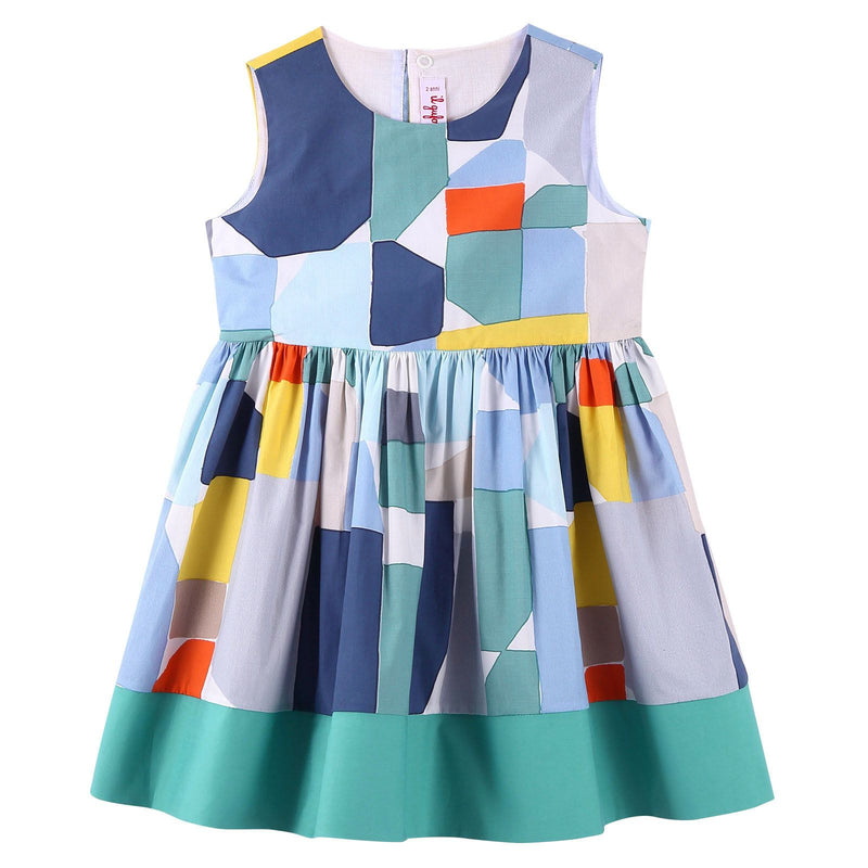Girls Multicolor Denim Puzzle Sleeveless Dress - CÉMAROSE | Children's Fashion Store - 1