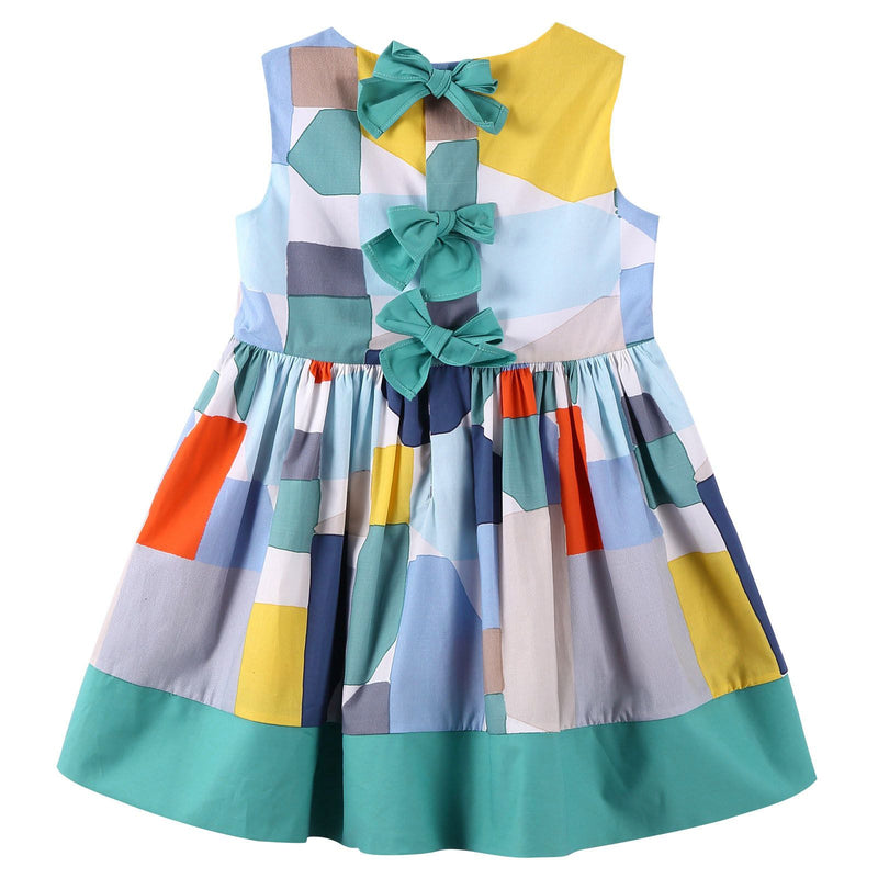 Girls Multicolor Denim Puzzle Sleeveless Dress - CÉMAROSE | Children's Fashion Store - 2
