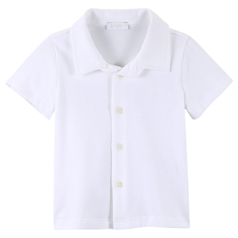 Baby Boys White Polo Shirt With Buttons Style - CÉMAROSE | Children's Fashion Store - 1