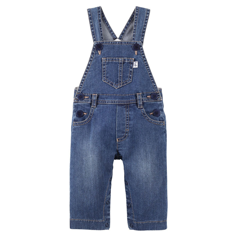 Baby Boys Blue Denim Cotton Brace Jeans - CÉMAROSE | Children's Fashion Store - 1
