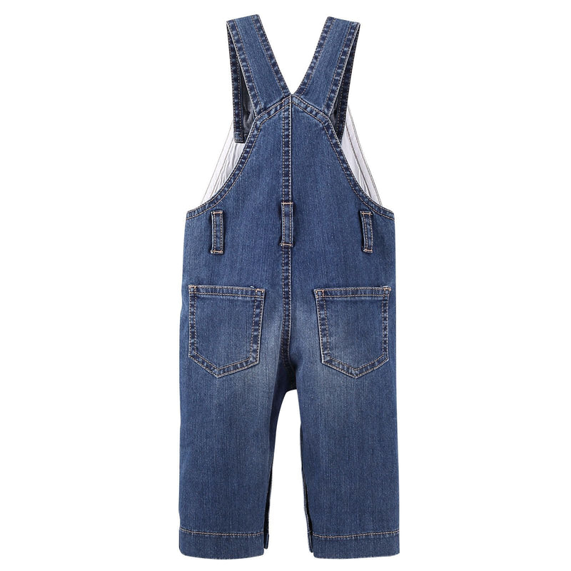 Baby Boys Blue Denim Cotton Brace Jeans - CÉMAROSE | Children's Fashion Store - 2