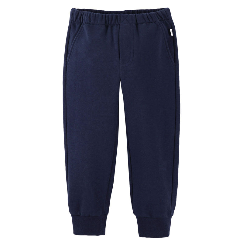 Boys Navy Blue Cotton Trousers With Ribbed Hems - CÉMAROSE | Children's Fashion Store - 1