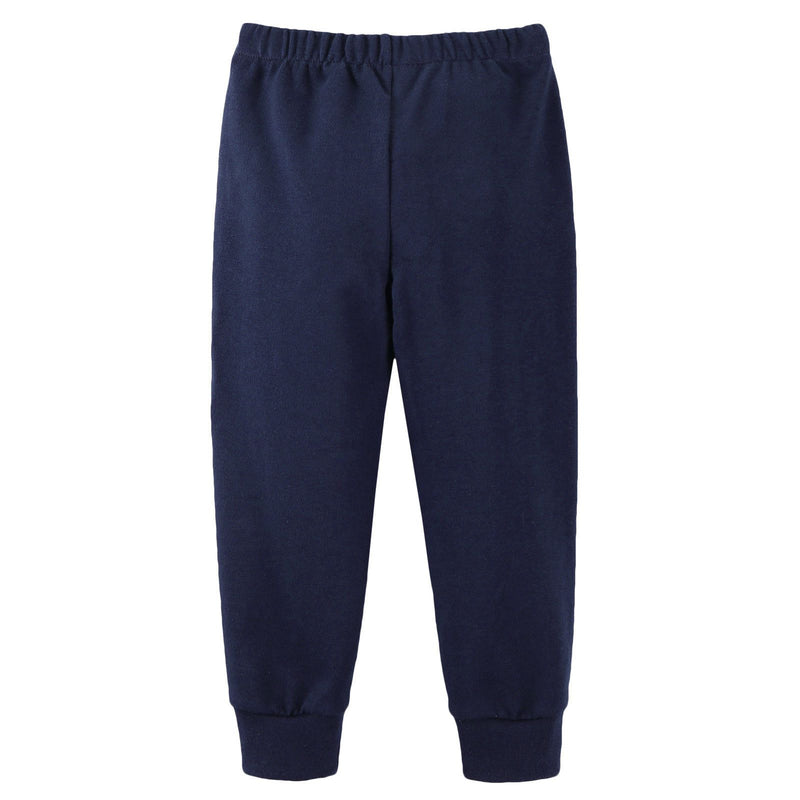 Boys Navy Blue Cotton Trousers With Ribbed Hems - CÉMAROSE | Children's Fashion Store - 2