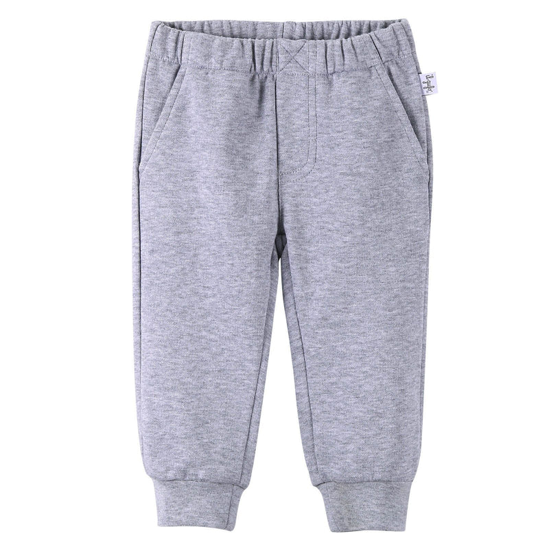 Boys Grey Cotton Trousers With Ribbed Hems - CÉMAROSE | Children's Fashion Store - 1