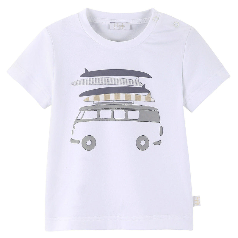 Baby Boys White T-Shirt With Beige Bus Print - CÉMAROSE | Children's Fashion Store - 1