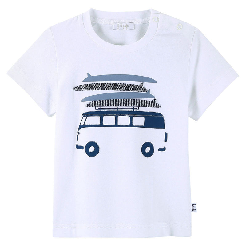 Baby Boys White T-Shirt With Navy Blue Bus Print - CÉMAROSE | Children's Fashion Store - 1