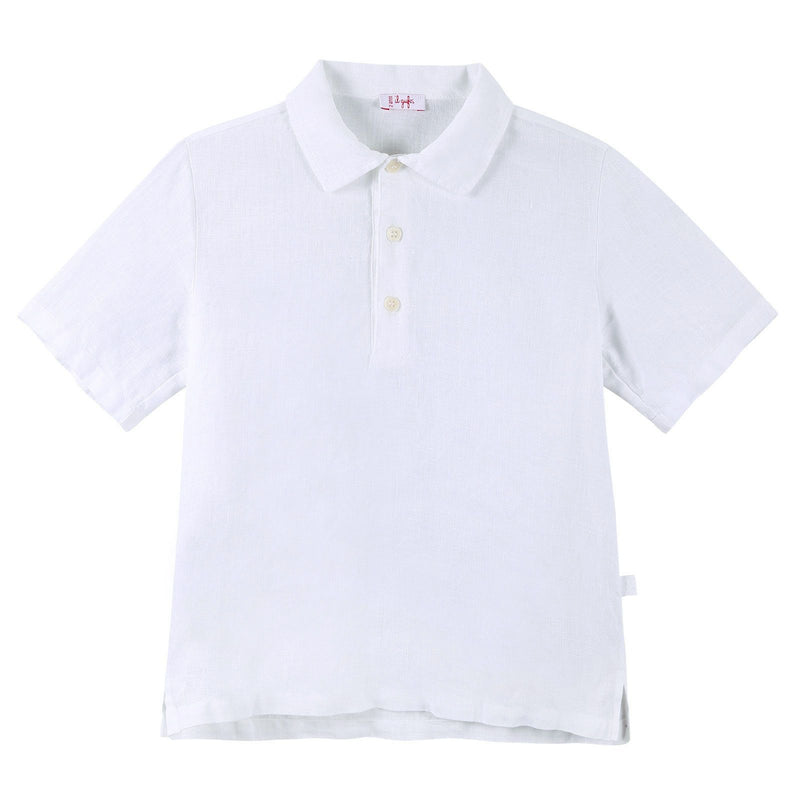 Boys White Liene Polo Shirts With Peter Pan Collar - CÉMAROSE | Children's Fashion Store - 1