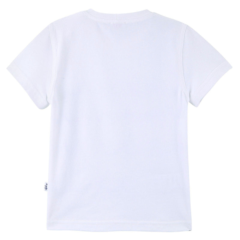 Boys White T-Shirt With Navy Blue Ripple Print - CÉMAROSE | Children's Fashion Store - 2