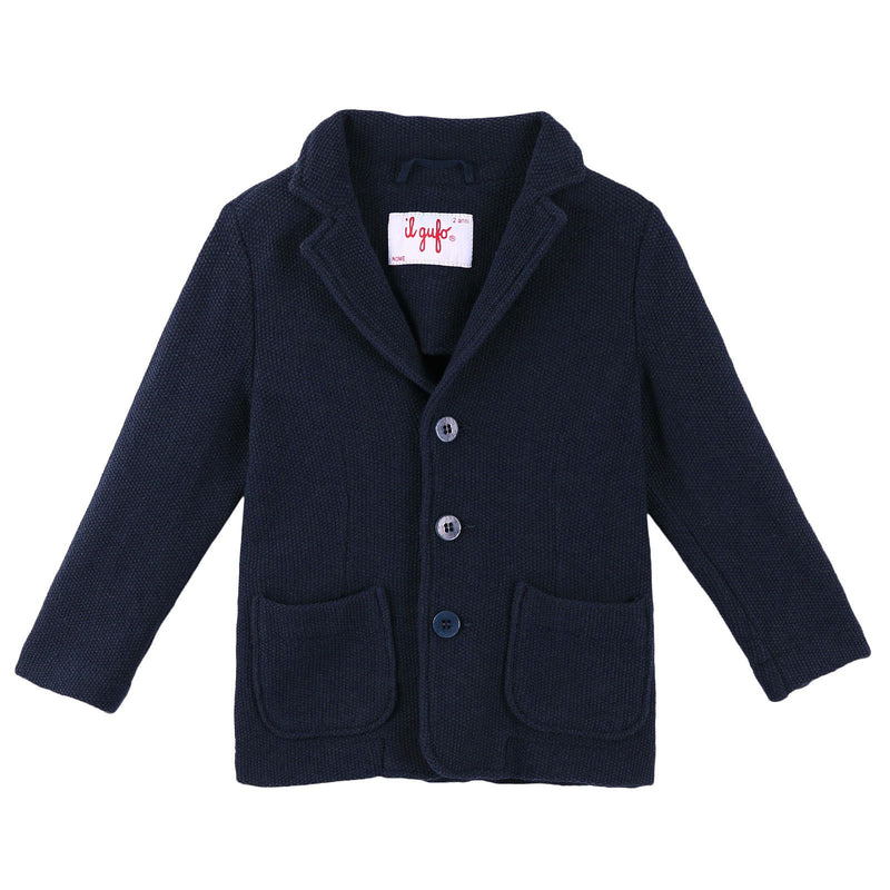Boys Navy Blue Cotton Knitted Blazer - CÉMAROSE | Children's Fashion Store - 1