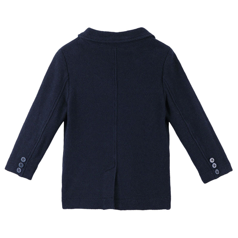 Boys Navy Blue Cotton Knitted Blazer - CÉMAROSE | Children's Fashion Store - 2