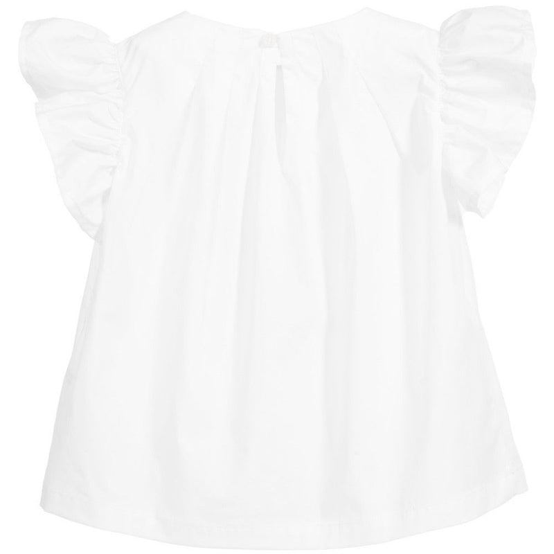 Girls White Cotton Shirt With Lotus Leaf Sleeve - CÉMAROSE | Children's Fashion Store - 2
