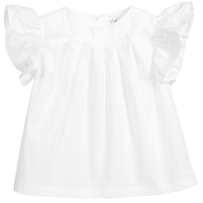Girls White Cotton Shirt With Lotus Leaf Sleeve - CÉMAROSE | Children's Fashion Store - 1