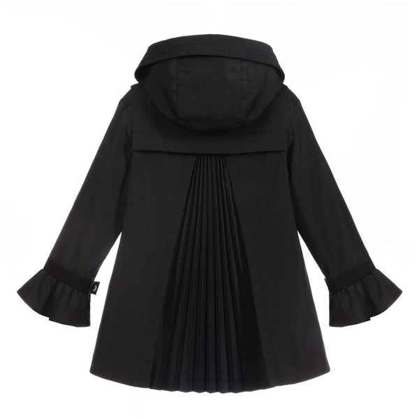 Girls Black Ruffle Cuffs Coat