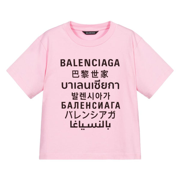 Girls Pink Languages Cotton T-Shirt