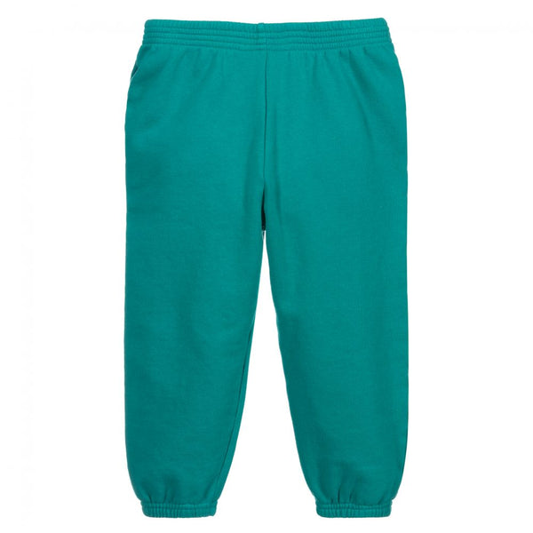 Boys & Girls Green Logo Cotton Trousers