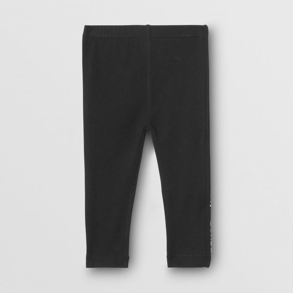 Baby Girls Black Logo Cotton Trousers