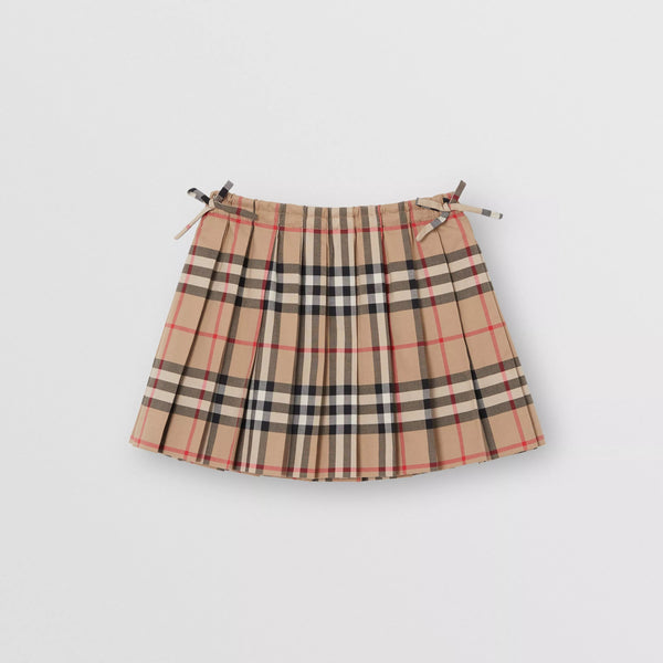 Baby Girls Beige Check Cotton Skirt