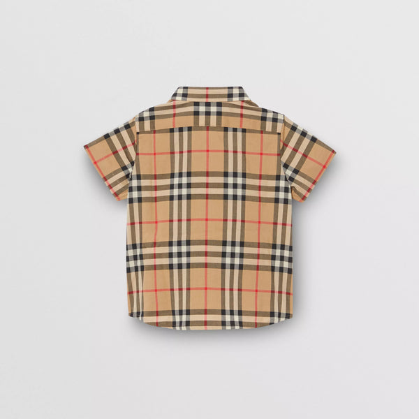 Baby Boys Beige Check Cotton Shirt