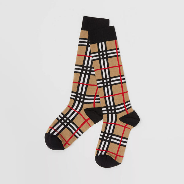 Boys & Girls Beige Check Socks