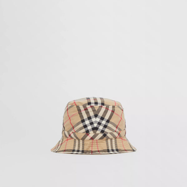 Boys & Girls Beige Check Cotton Hat