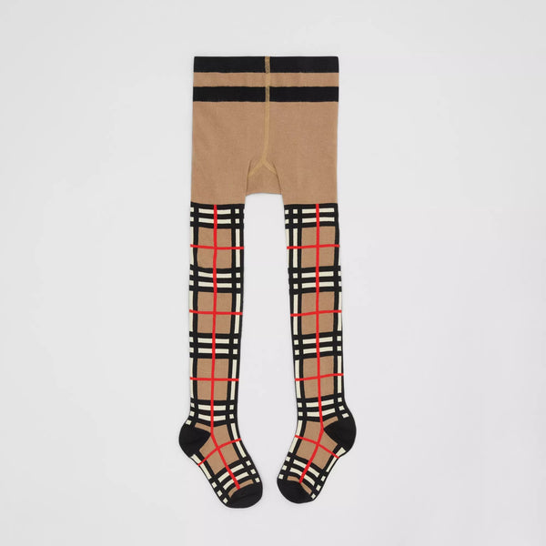 Girls Beige Check Tights