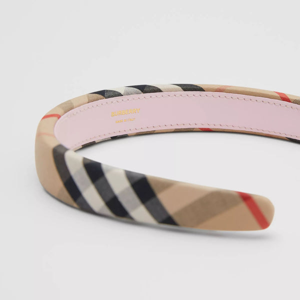 Girls Beige Check Hair Band