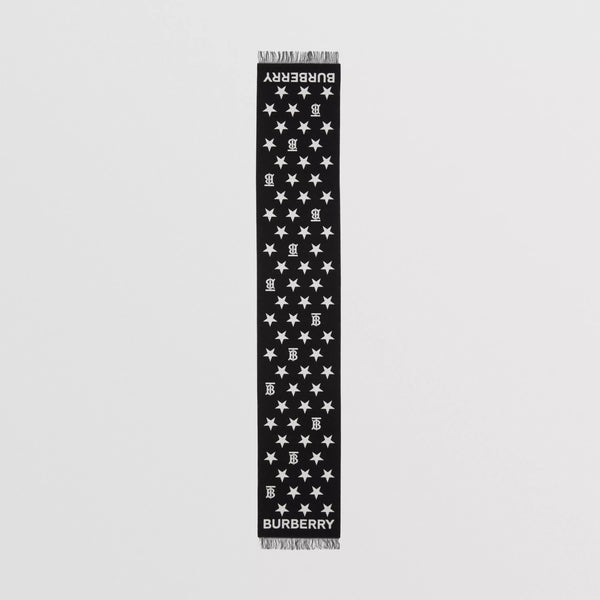 Boys & Girls Black Star Wool Scarf