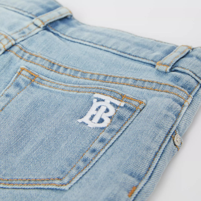 Girls Blue Logo Denim Shorts