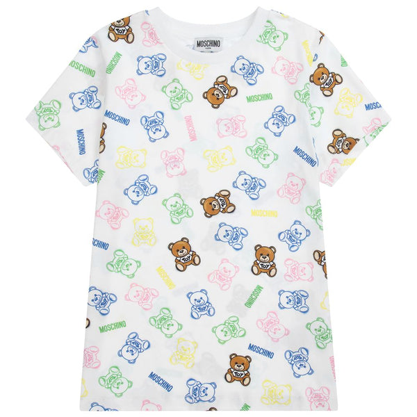 Boys & Girls White Print Cotton T-Shirt