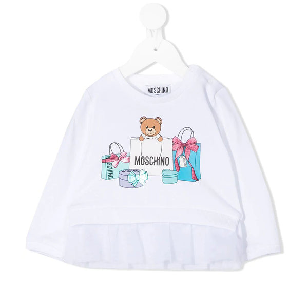 Baby Girls White Print T-Shirt
