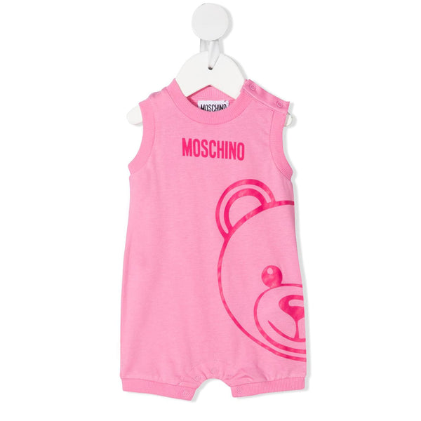 Baby Girls Pink Logo Cotton Babysuit
