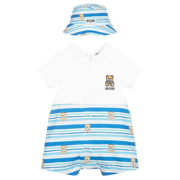 Baby Boys Blue Cotton Babysuit & Hat