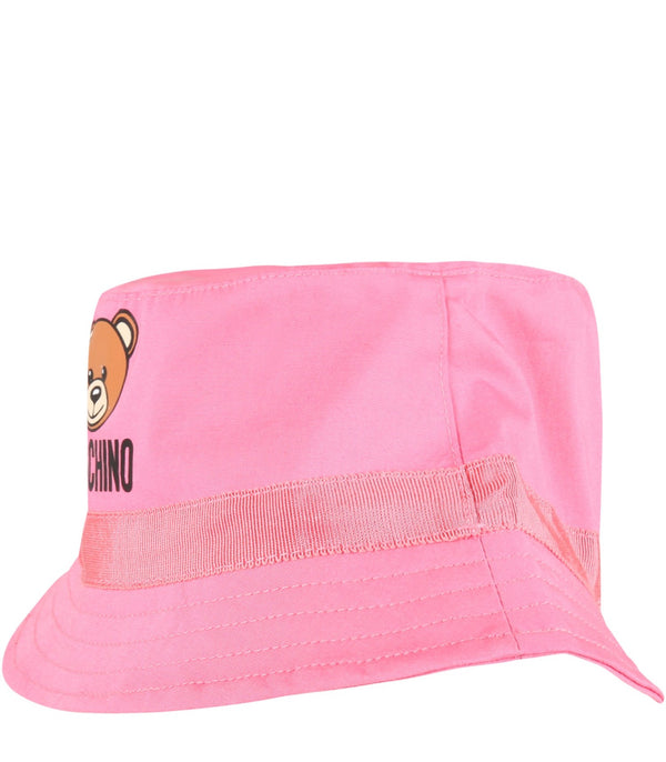 Girls Pink Logo Cotton Hat