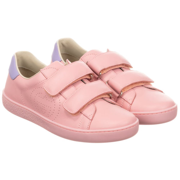 Girls Pink GG Logo Leather Shoes