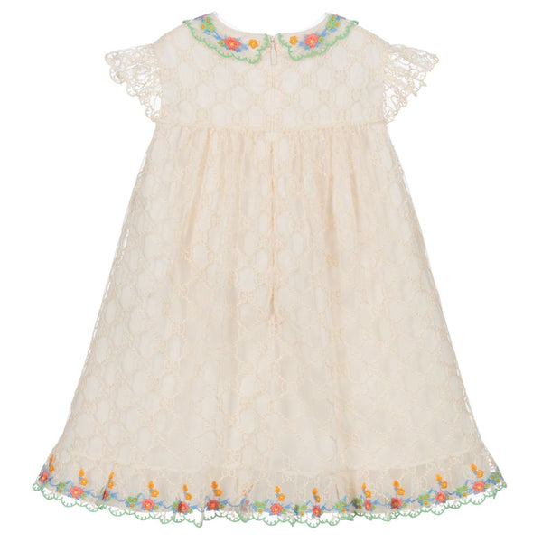 Baby Ivory GG Embroidered Dress