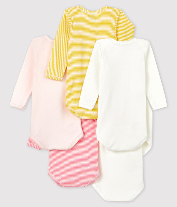 Baby Girls Multicolor Cotton Babysuits Sets (5 Pieces)