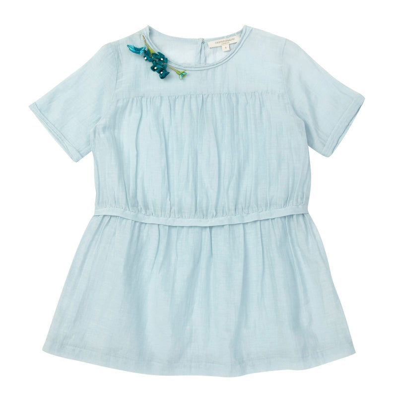 Girls Pale Blue Patch Flower Trims Rosemary Dress - CÉMAROSE | Children's Fashion Store