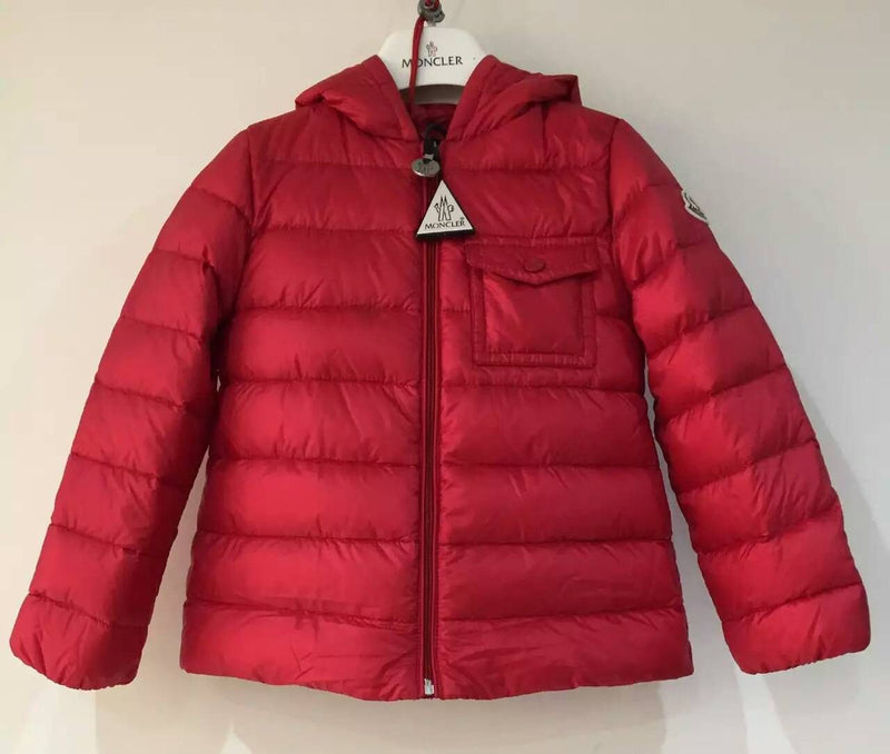 Baby Girls Red Down Padded Hooded 'Milou' Jacket With Pocket - CÉMAROSE | Children's Fashion Store - 1