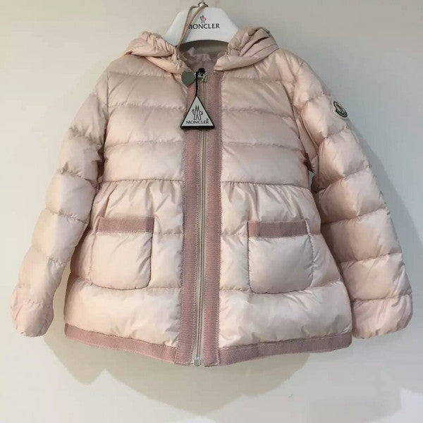 Baby Girls Light Pink Down Padded Jacket With Embroidered Edge - CÉMAROSE | Children's Fashion Store - 1