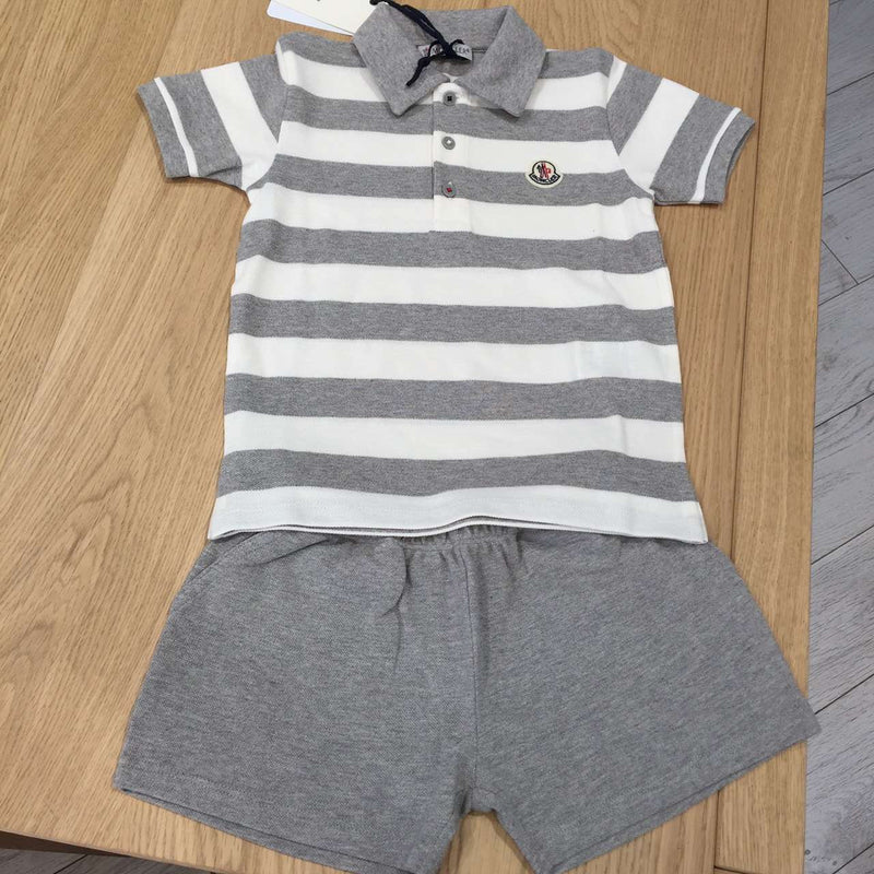 Baby Boys Grey Striped Polo Shirt & Short Set - CÉMAROSE | Children's Fashion Store