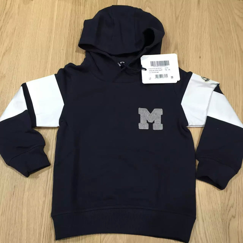 Boys Navy Blue Hooded Cotton Logo Sweatshirt - CÉMAROSE | Children's Fashion Store