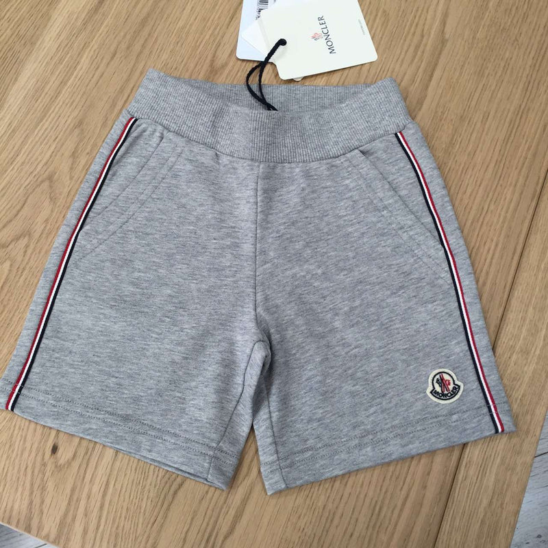 Boys Grey Cotton Short With Red Striped Trims - CÉMAROSE | Children's Fashion Store